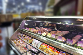 Image of grocery store european meat case